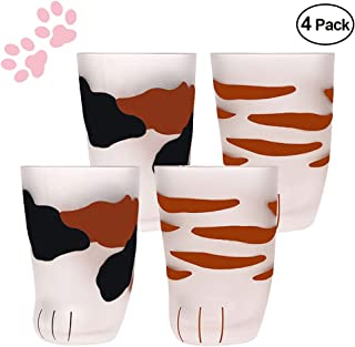 Cat Claw Cup Breakfast Milk Cup Frosted Glass Cup Cute Cat Foot Claw Print Mug Cat Paw Coffee Kids Milk Glass Cups Tumbler Personality Milk Porcelain Cup (4Pcs)