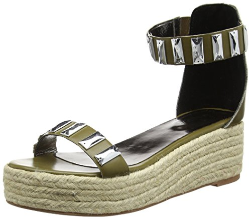 Tantra Leather Espadrille Wedge Sandals with Metallic Details - Sandalias para Mujer,...