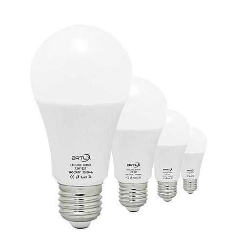 BRTLX Ampoules LED Standard Culot E27, 12W équivalent 100W, Blanc Froid 6000K, Dépolie, Lot de 4