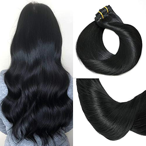HUAYI Natural Color Jet Black 120g 7Pcs Clip In Hair Extensions Human Hair Soft Silky Thick End Tangle Free Full Head Hair Extensions Balayage Hair (1#16'')