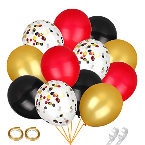 Red Black and Gold Confetti Balloons 70pcs 12 inch Latex Balloons for Shower Wedding Christmas Halloween Valentine's Day Bachelorette Birthday Decorations,2 pcs Balloon Chain