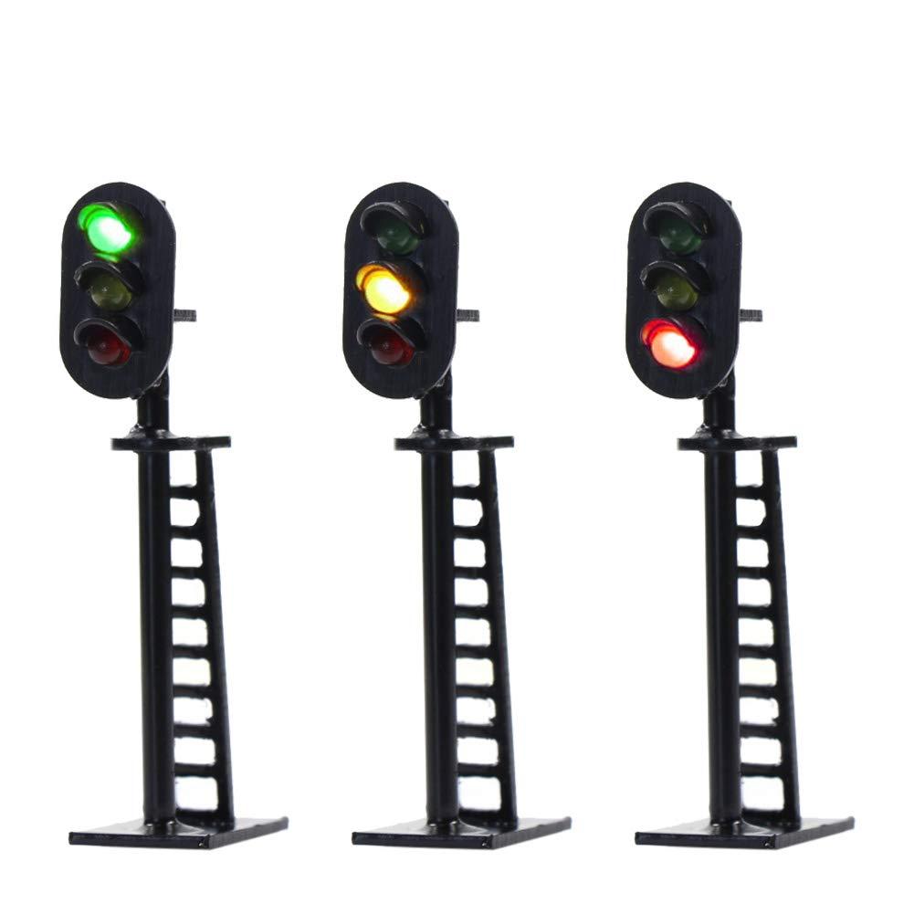 JTD06 5pcs Model Railway 3-Light Block Signals G//Y//R N Scale 5.1cm 12V Led New