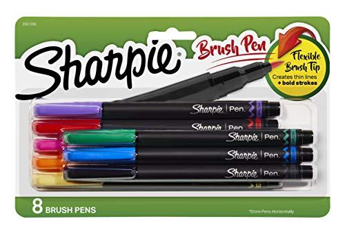 Canetas Sharpie com ponta de pincel, cores sortidas, 8 unidades