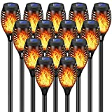 New Huing 14 Pack Solar Torches with Flickering Flames, 12LED Tiki Torch Solar Lights Waterproof Outdoor Mini Solar Torch Lights for Garden, Patio, Yard, Pathway and Chirstmas Decoration