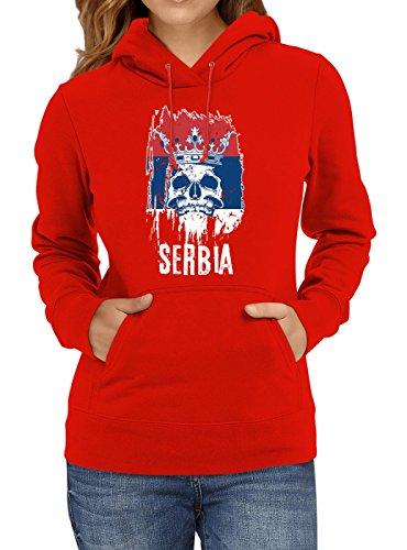 Shirt Happenz Serbien WM 2018#21 Premium Hoodie Fan Trikot Fußball Weltmeisterschaft Nationalmannschaft Frauen Kapuzenpullover, Farbe:Rot;Größe:XL
