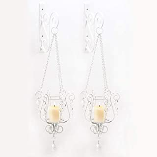 Gifts & Decor 57070439 Sparkling Candle Sconce Duo, White