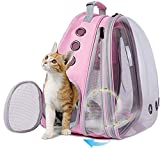 halinfer Front Expandable Large Cat Carrier Backpack, Space Capsule Pet Carrier Backpack for Fat Cats and Small Dog up to 20 lbs, Dog Carrier Backpack for Traveling and Hiking (Pink)