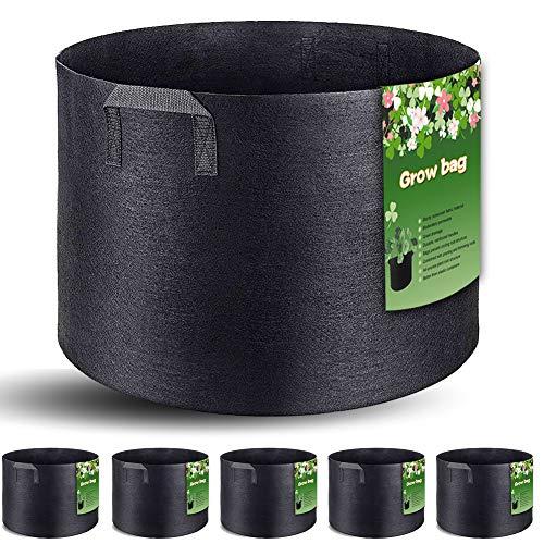 Bolsas de cultivo de 3, 5, 7, 10 galones con 5 bolsas de cultivo inteligentes para patatas/tomatos/contenedor de plantas/verduras/flores/plantas, macetas de tela de aireación con asas (negro) 5 galones