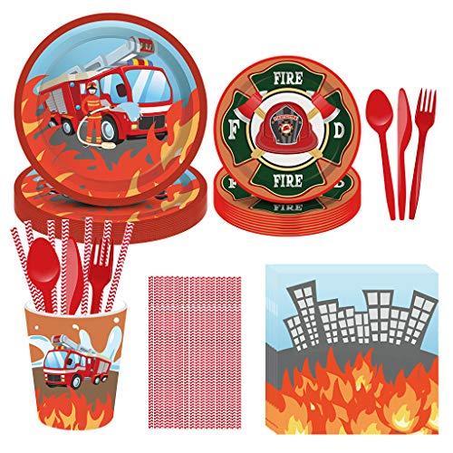 DreamJing 93 piezas de suministros para fiestas de cumpleaños con tema de camión de bomberos, incluye tazas de papel, platos, servilletas, pajitas, vajilla para niños con temática de cumpleaños para 8