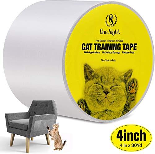 One Sight Kratzschutz, Anti-Kratzer Katzen Ausbildung Klebeband, 4in x 30yd (10cm x 27m) Couch Kratzschutz Katze für Sofa, Tür, Möbel, Couch, Wand, Doppelseitig Transparent Cat Furniture Protector
