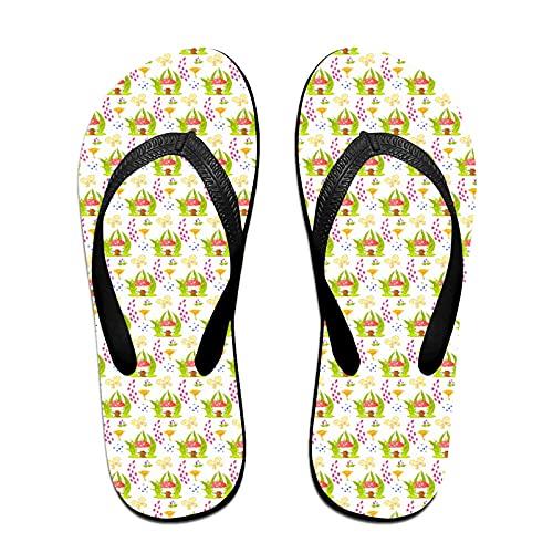 Sandales unisexes minces à bascule,Modèle sans couture de maison de champi, Tapis de yoga Flip Flops plage confortable bracelet en cuir avec légère en EVA Sole Taille M
