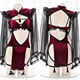 Cloudy Punk gótico Negro Rojo Encaje Sexy Mujer en lencería mucama tentación Lindo Diablo Malvado Cosplay pajamo Set Disfraz de Halloween