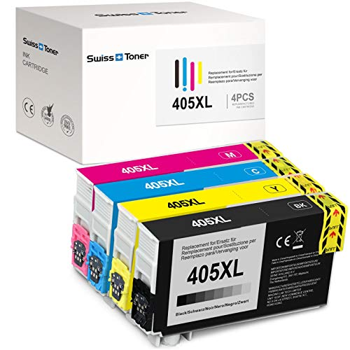 SWISS TONER 405XL Kompatibel für Epson 405XL Tintenpatronen für Epson Workforce Pro WF-3820DWF WF-3825DWF WF-4820DWF WF-4825DWF WF-4830DTWF Workforce WF-7830DTWF WF-7835DTWF Pro WF-7840DTWF,4er-Pack