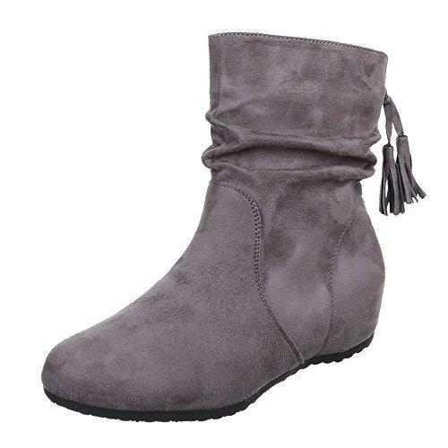 Ital-Design Damen Schuhe, JA3129-, Stiefeletten, KEIL Wedges Boots, Synthetik in hochwertiger...