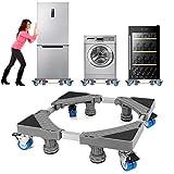 NIUXX Waschmaschine Sockel Untergestell mit 4 Füßen+4 Räder für Waschwaschine,Kühlschrank und Trockner,Verstellbare Waschmaschinensockel mit Rutschfester Stoßdämpfungsfunktion,(Einstellbare:41-64cm)