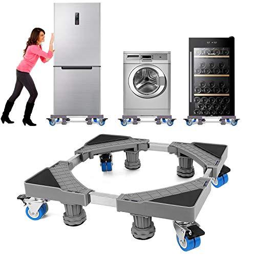 Base lavadora NIUXX, con 4 pies + 4 ruedas, para lavadora, soporte secador frigorífico, base lavadora regulable, con función antideslizante y amortiguadora (regulable: 41-64cm)