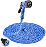 Enenes Flexibler Gartenschlauch 50ft Gartenschläuche Erweiterbarer Auslaufsicherer Schlauch - Hochleistungs Flexibler, 7-Muster-Hochdruck-Wassersprühdüse (Blau)