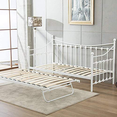 KOSY KOALA Glossy vanilla daybed off white day bed with underbed trundle guest bed (White, Without matresses)