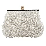 Shiratori Womens Faux Pearl Cascading Bead Rhinestone Evening Clutch Fashion Purse