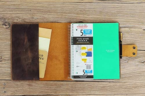 Rustic leather cover case for 5 five star spiral notebooks leather portfolio case for 8 5 x product image