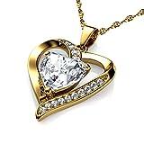 DEPHINI - Collar de oro de 18 quilates para mujer, colgante de corazón amarillo, cristales de circonita cúbica, joyería fina