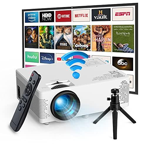 Proyector WiFi,Mini Proyector Portátil en Casa con Bluetooth,Soporte 1080P,5000 Lúmenes,Pantalla Grande,Altavoces Duales,50000 Horas Vida,Compatible con TV Stick,HDMI,Android,iOS,win10,DVD,AV