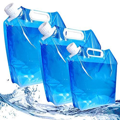 SUNSK Bidón de Agua Plegable Contenedor de Agua Potable Recipiente de Agua 5L /10L Bolsa de Agua para Camping al Aire Libre Senderismo Picnic Barbacoa Depósito de Agua 3 Pieza