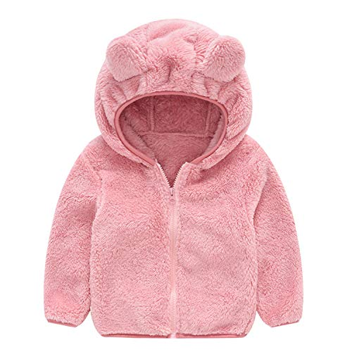 Guy Eugendssg Toddler Kid Baby Winter Gril Boy Cute Ear Long Sleeve Zipper Jacket Thick Cotton Hooded Coat Pink 3T