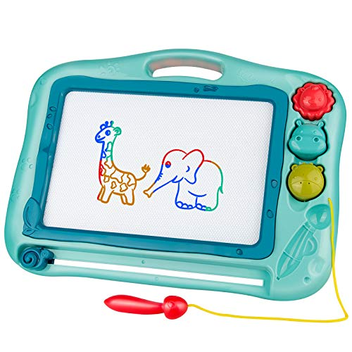 Gamenote Magnetic Drawing Board for Kids 12×16 inch - Writting Board for Toddlers Comes with Adorable 3 Stamps, Magnet Pen, Gifts for Toddlers Kids Colorful Erasable Magnet Writing Sketching Pad(Blue)