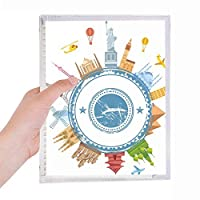 世界の地球のランドマークのパターン 硬質プラスチックルーズリーフノートノート