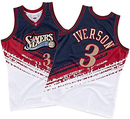 CXJ Allen Iverson NBA Uomo Maglie, Philadelphia 76Ers # 3 Pullover di Pallacanestro, Tops Retro Traspirante Rapida Asciugatura Sports Vest,B,M(170~175CM/65~75KG)