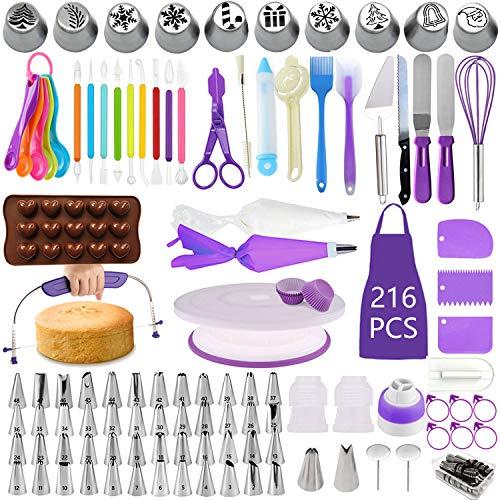 Kit per decorare torte, set di 216, utensili per pasticceria, piatto girevole per torte, livellatore per torte, punte per glassa numerate con schema, spatola angolata, 10 ugelli per tubi natalizi