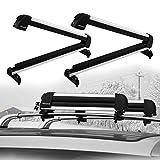 PEXMOR Car Ski Snowboard Roof Racks 2 PCS Universal Aluminum Ski Snowboard Car Carriers Lockable 23'X2.3'X4.3' Fits Vehicles Equipped Square Aero Round Factory Crossbars