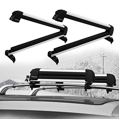 PEXMOR 2 PCS 23' Ski & Snowboard Roof Racks, Universal Aviation Aluminum Ski Snowboard Car Carrier Lockable Ski Mount for 2 Pairs of Skis or 1 Snowboards, Fit Most Vehicles Equipped Cross Bars