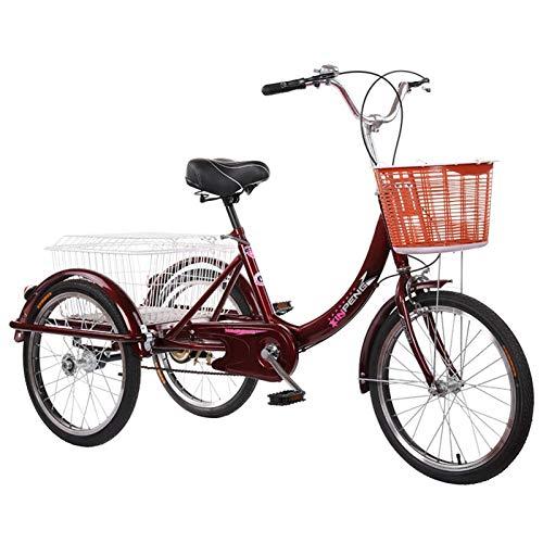 Dreirad Für Erwachsene 20 Zoll Einzelne Geschwindigkeit 3 Räder Fahrrad Mit Korb Seniorenrad Lastenfahrrad Zum Übung Einkaufen Picknick Draussen Aktivitäten Weinrot