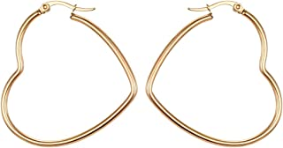 MengPa Hoop Earrings for Women Stainless Steel or Black Gold Plated Lightweight Jewelry