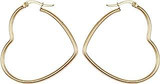 Titanium Steel Women's Hoop Earrings In Gold Silver Black