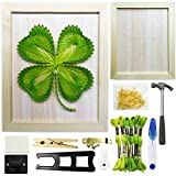DIY String Art craft Kit for Adults,Teens,Beginner,kids.Include All Necessary Accessories and Frame , Adults Crafts Kit, Home Wall Decorations Unique Gift (Four-leaf Clover)