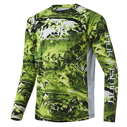 HUK Men's Pursuit Camo Vented Long Sleeve 30 UPF Fishing Shirt, BIOLUME, 3XL