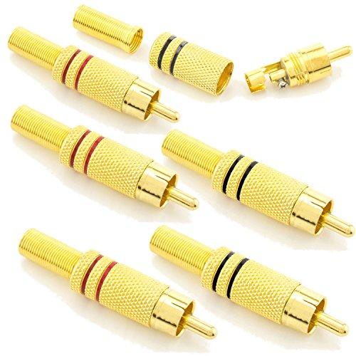zanasta 6X Cinch Stecker, Audio RCA Verbindungsstück Hochwertige Cinchstecker Verlängerung für Kabel zum Löten (auch schraubbar) HQ, vergoldete Kontakte Ø 6mm (3 Rot + 3 Schwarz)