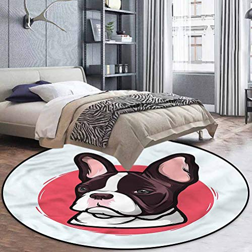 Animal Polyester Oriental Area Rug Living Dining Room Bedroom Hallway Office Carpet French Bulldog Hipster 4'3' in Diameter