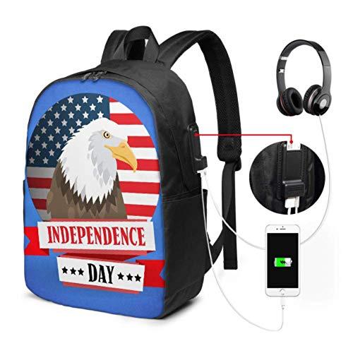 Stilvoller Rucksack American Independent Day Symbol Eagle Bookbags für Frauen mit USB-Ladeanschluss und Kopfhöreranschluss für College-Arbeitsreisen