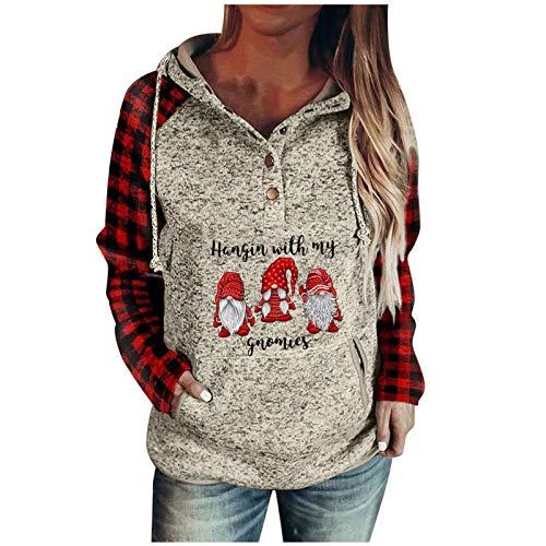 WOCACHI Damen Weihnachten Hoodie Sweatshirt Weihnachtspulli Langarmshirt...
