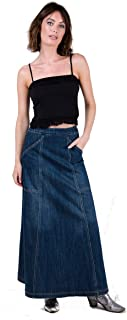 Maxi Denim Skirt with Deep Pockets Vintage Wash
