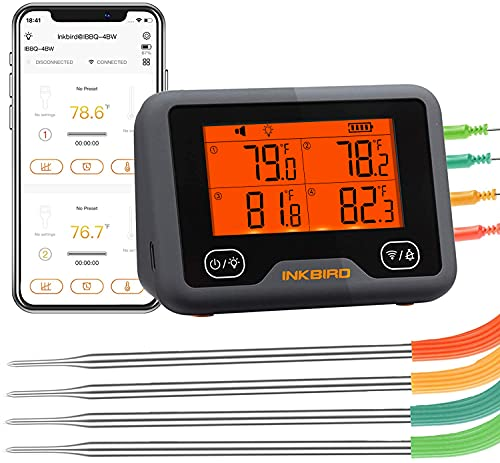 Inkbird Wi-Fi&Bluetooth Grill Meat Thermometer IBBQ-4BW with 4 Colored Probes, Timer, High/Low Temp Alarm, WiFi Meat Wireless Barbecue Smoker Thermometer for Oven, Kitchen, Drum, Android&iOS