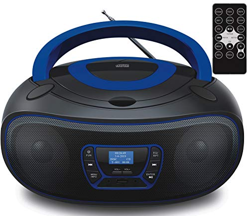 DAB+ Tragbarer CD-Player | Boombox | CD/CD-R | USB | FM Radio | AUX-In | Kopfhöreranschluss | CD Player | Kinder Radio | CD-Radio | Stereoanlage | Kompaktanlage… (DAB+ Black/Bolton Blue)