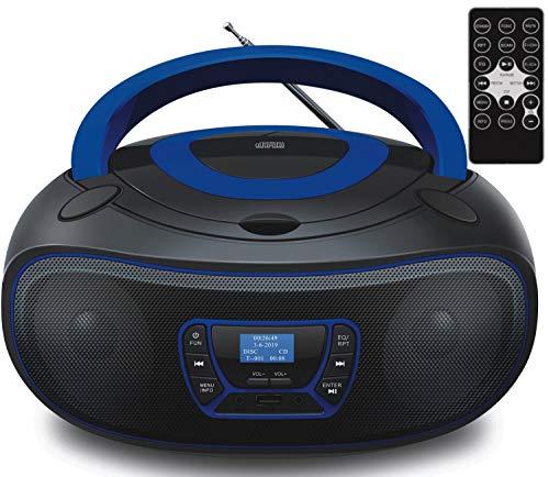DAB+ Tragbarer CD-Player | Boombox | CD/CD-R | USB | FM Radio | AUX-In | Kopfhöreranschluss | CD Player | Kinder Radio | CD-Radio | Stereoanlage | Kompaktanlage… (DAB+ Black/Bolton Blue)