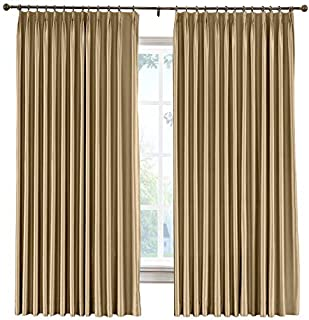 cololeaf Pinch Pleat Faux Silk Curtains Drapery Panel For Traverse Rod Or Track, Living Room Bedroom Meetingroom Club Theater Patio Door, Taupe 52W x 84L Inch (1 panel)