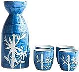YWTT Juego de Sake de 5 Piezas, Juego de Vino de cerámica de Estilo japonés, Juego de Sake de bambú Pintado a Mano, para Sake frío/Tibio/Caliente/Shochu/té, familiare