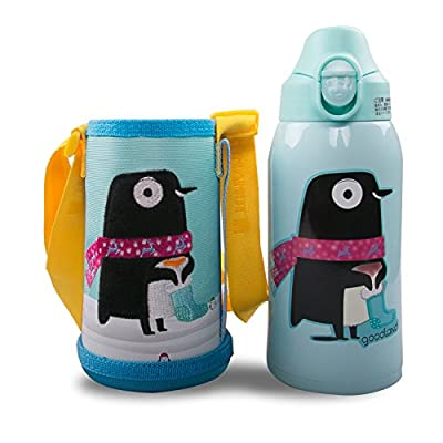 KUMAMOT 3 Way Double Wall Stainless Steel Vacuum Insulated Drink Bottle For Kids